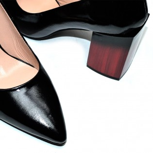 Висок ток, шикозни, дамски обувки с токи естествена кожа / лак - La1615