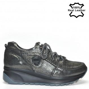 Дамски черен сатен спортни обувки тип маратонки естествена кожа L190