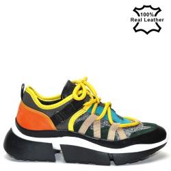 Дамски спортни обувки тип маратонки естествена кожа L248