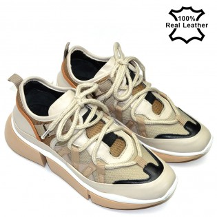 Дамски бежови спортни обувки естествена кожа тип маратонки L248B
