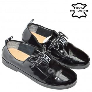 Дамски спортноелегантни обувки естествена кожа - лак L386