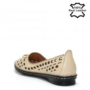 Бежови ортопедични обувки естествена кожа L4180B