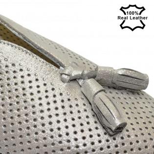 Бежови дамски обувк сатен-естествена кожа с перфорация L56B