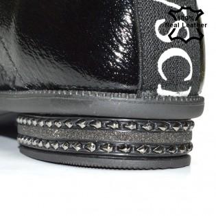 Спортно-елегантни лачени обувки естествена кожа - L6046