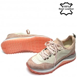 Дамски маратонки пудра естествена кожа L653P