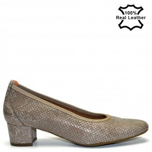 Елегантни бежово-кафяви перфорирани дамски обувки на ток естествена кожа L7096Br