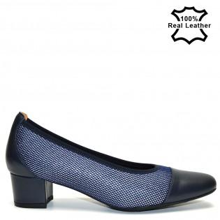 Елегантни тъмносини перфорирани дамски обувки на ток естествена кожа L7097N