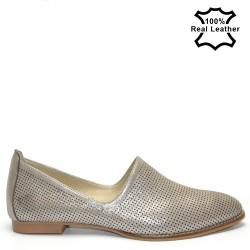 Бежови спортноелегантни дамски обувки естествена кожа L777B