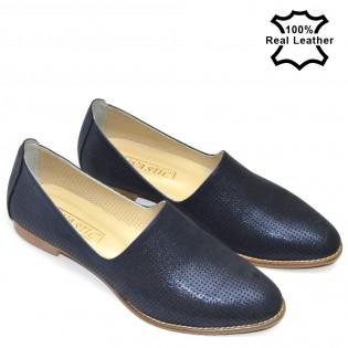 Тъмно сини спортноелегантни дамски обувки естествена кожа L777n