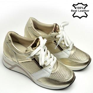 Дамски маратонки на платформа, златисти естествена кожа L798B