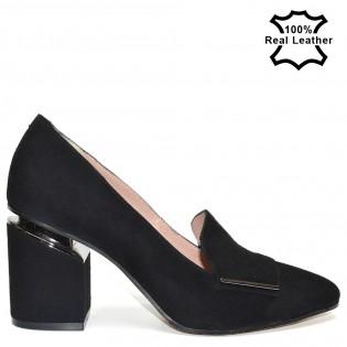Елегантни дамски обувки естествена кожа-велур L820