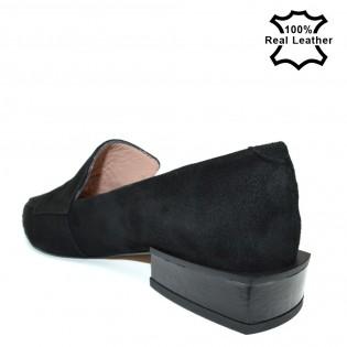 Елегантни дамски обувки естествена кожа-велур L908