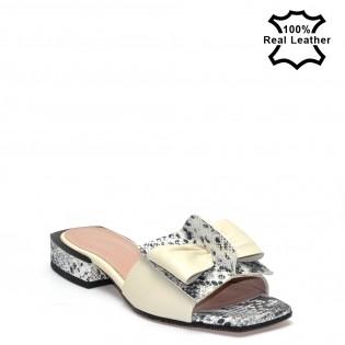 Ниски, елегантни, дамски чехли естествена кожа - бежови L927w