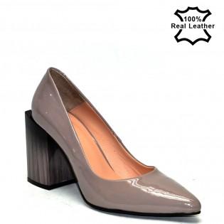 Висок ток, шикозни, дамски обувки с токи естествена кожа / лак - La1615b