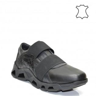 Дамски спортни обувки естествена кожа в черен цвят - 03bi16