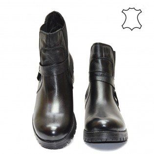Дамски боти от черна естествена кожа - 1023A16