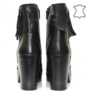 Висок ток черни елегантни дамски боти - естествена кожа с ресни 1048A16