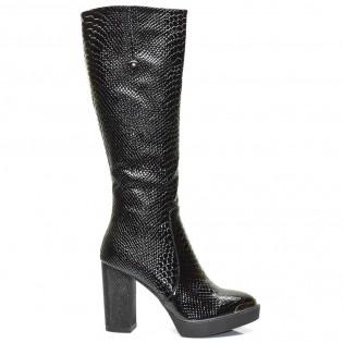 Елегантни луксозни черни дамски ботуши змийски принт 13ke16
