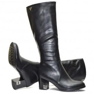 Черни елегантни дамски ботуши кожа 1818KE16