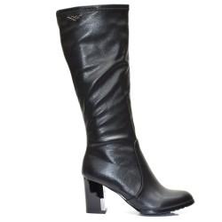 Черни елегантни дамски ботуши кожа 2039KE16