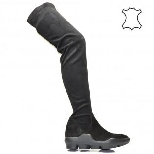 Дамски чизми - набук в черно  204i16