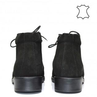 Ежедневни дамски боти тип кларк естествена кожа в черен цвят-21bs16