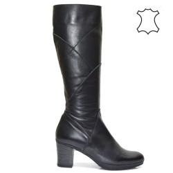 Дамски ботуши естествена кожа в черно 228s16