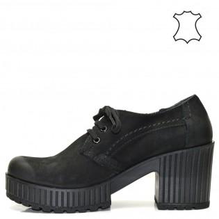 Дамски черни обувки - естествена кожа  22TSh16