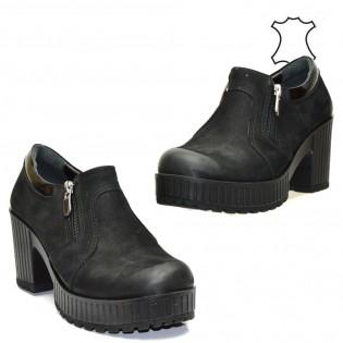 Дамски черни обувки с цип - естествена кожа 24TSh16