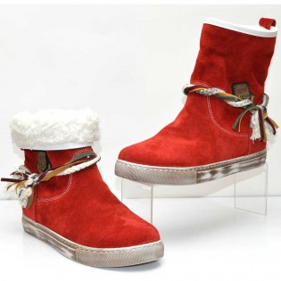 Червени дамски спортни боти естествена кожа - набук 266A16r