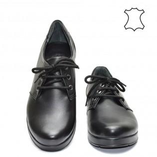 Комфортни, дамски, черни обувки от естествена кожа  27T416