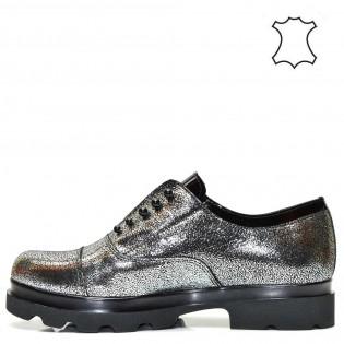 Модерни дамски обувки в метален сив цвят - 380A16m