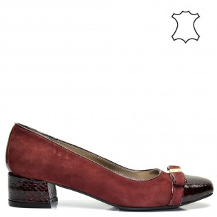 Елегантни ниски луксозни дамски обувки кроко принт в бордо 387TK16b