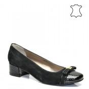 Елегантни ниски луксозни дамски обувки кроко принт в черно 387TK16