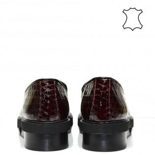 Бордо -комфортни, дамски, лачени обувки от естествена кожа 38TK16b