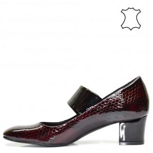 Бордо елегантни ниски луксозни дамски обувки в черен цвят - 504TK16b