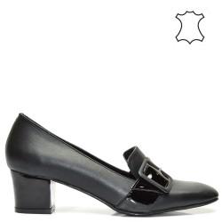 Елегантни ниски луксозни дамски обувки в черен цвят - 505TK16