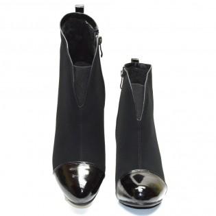 Шикозни дамски боти черен набук на висок ток - 548ke16