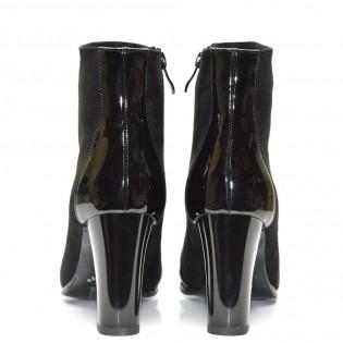 Шикозни дамски боти черен набук на висок ток - 9255ke16