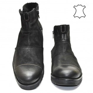 Мъжки боти черна естествена кожа набук - M771BN