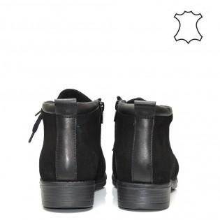 Ежедневни дамски боти тип кларк естествена кожа в черен цвят-01bs17