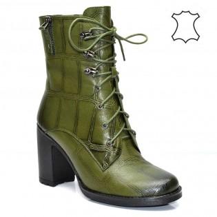 Дамски боти - маслено зелени, естествена кожа 122e17z