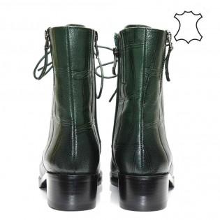 Дамски боти - маслено зелени ,естествена кожа 136e17z