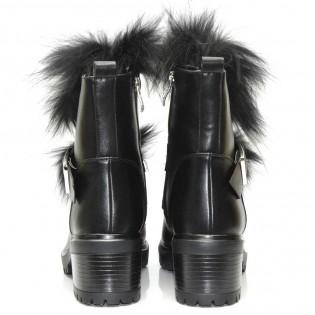 Екстравагантни-черни дамски боти - 18ke17