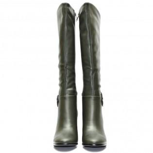 Елегантни маслено зелени дамски ботуши - 203ke17z