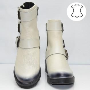Бели ежедневни дамски боти естествена кожа с аксесоар - цип 305td17