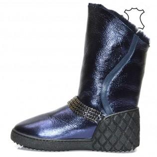 UGG - топли боти естествена кожа син цвят 7009a17s