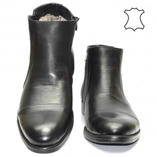 Елегантни мъжки боти черна естествена кожа - естествен хастар M2544A