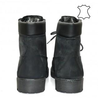 Боти от естествена кожа с лого и декоративни шевове - Черни