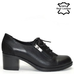Дамски ежедневни обувки естествена черна кожа F0509